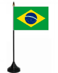 Brazil Desk / Table Flag with plastic stand and base.